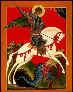 "George and the Dragon - ""Novgorod"" School. In the Russian Museum in Saint Petersburg, Russia Byzantine Icons, Byzantine Art, Religious Icons, Religious Art, Medieval Art, Renaissance Art, Saint George And The Dragon, Dragon Icon, Paint Icon"