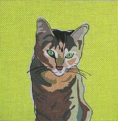 DJ Designs of San Francisco - Tabby Cat Needlepoint