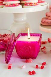 Fuchsia Pressed Glass Candle