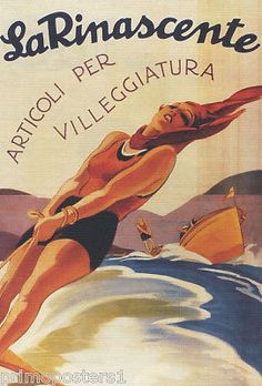 #Italy la rinascente #items for holiday girl water ski travel #vintage poster rep,  View more on the LINK: 	http://www.zeppy.io/product/gb/2/360369217379/