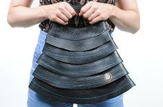 Handmade Upcycled waterproof inner tube Handbag. Recycled vegan innertube bag.