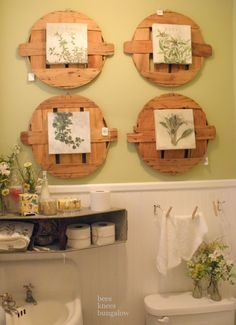 so much character - wooden wall display, metal shelf and rope towel holder. Crafts To Make, Diy Crafts, Bushel Baskets, Room Of One's Own, Cottage Style Decor, Metal Shelves, Bees Knees, Farmhouse Chic, Wooden Walls