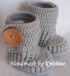 Crochet bambino stivaletti per neonato,0-3,3-6M di kristine's1986 shop su DaWanda.com
