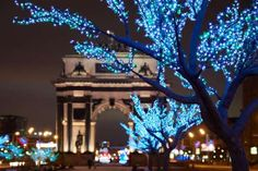 Triumphal arch of Moscow - Max_Ryazanov/Getty Images Christmas Images, Christmas Lights, Christmas Time, Light Decorations, Christmas Decorations, Holiday Travel, Christmas Traditions, Planting Flowers, Arch