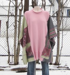 Upcycled Poncho, Upcycled Clothing, Recycled Sweaters, Womens Clothing, Pink, One Size