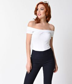 1950s Style White Off Shoulder Marilyn Top