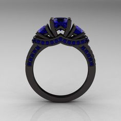 French 14K Black Gold Three Stone Blue Sapphire Wedding Ring, Engagement Ring R182-14KBGBS. $1,849.00, via Etsy.