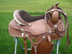 "English , Western. Horse. Pony .Mini Saddles and Tack for Sale: 15"", 16"",17"" Leather Western Horse Show Barrel Trail Pleasure Saddle Set w/Pink Brown Blue Purple or Green Bling!"