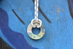 """Vintage Style Upcycled Necklace is made with Collage Technique from Soviet Era Fashion Magazine, MDF wood and Nautical Rope. This particular necklace is made from """"Siluett"""" magazine dated 1976."""