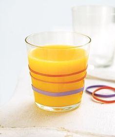 Rubber Band as Glass Gripper   For more OJ in your child's belly (and less on the kitchen floor) use rubber bands to provide some grip around a chilly glass so it doesn't slip through a child's small hands.