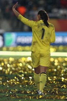 Hope Solo after the loss to Japan in the Women's World Cup final, July 17, 2011, in Frankfurt. (Christof Koepsel/Getty Images)