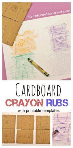 Do you remember Fashion Plates from when you were a kids. Make these easy to make crayon rubs using cardboard and a glue gun. Printable templates are available as well. Use this to make shapes, letters or any designs. Kid's arts and crafts and activities.