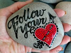 follow your heart / painted rocks /painted stones / words in stone / paperweight / heart art / sea stones / rock art / follow your arrow by LoveFromCapeCod on Etsy