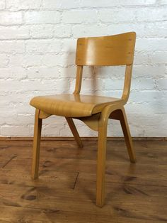 Vtg Mid Century School Industrial Stacking chair Cafe Bar Ply Wood