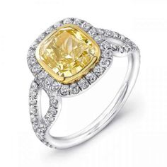 yellow gold pave set 2.10Ct Fancy Yellow Cushion Cut Diamond Engagement Ring 18k White Gold Certified