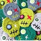 Crochet Zombie Head Skulls Pin Brooch Ornaments - You Choose the Color