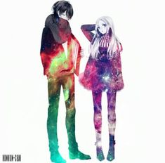 Image about love in Kawaii by on We Heart It Anime Galaxy, Galaxy Art, Anime Love Couple, Cute Anime Couples, Dark Boy, Manga Art, Manga Anime, Another Anime, Manga Love