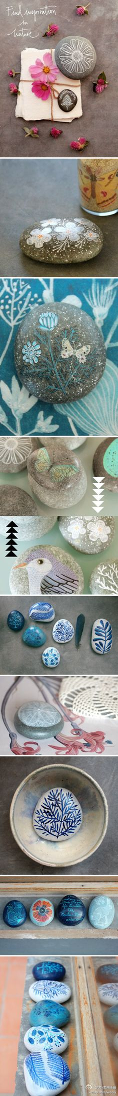 Painted rocks--nature inspired designs