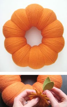 Yarn Wrapped Pumpkin Wreath with Felt Mums