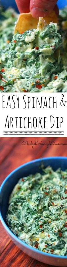 The BEST and EASIEST DIP EVER!!! My Whole Family ATE IT! Anyone can make this dip - throw everything in a bowl and mix - Gluten Free - Easy Spinach and Artichoke Dip Recipe