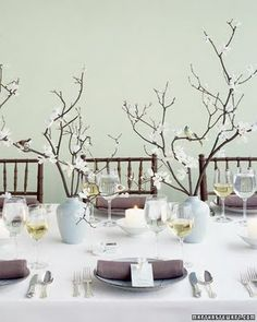 Beautiful table setting, would it be hard to talk-around the branches?