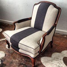 Pretty stripe chair collaborative bergere redo @designmanifest @Maxwell Salzberg Salzberg Fabrics #gigharbour #champagne #charcoal #customstripe