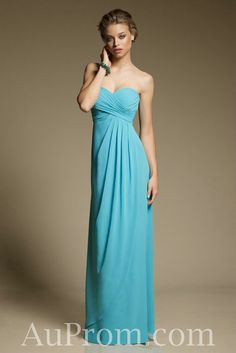 Chiffon Strapless Sweetheart Sheath Aqua Modest Bridesmaid Dress,Chiffon Strapless Sweetheart Sheath Aqua Modest Bridesmaid Dress - Buy best cheap formal prom dress from AuProm.com I like the color, not the length