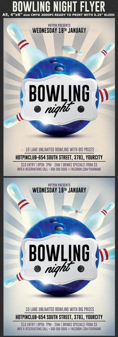 Bowling Event Poster, Flyer or Ad Bowling party, Retro posters - bowling flyer template
