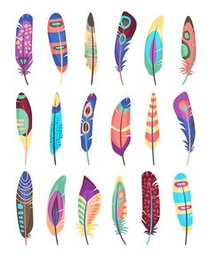 Vector colored feathers set - Objects