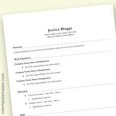 Basic CV template UK layout (free, MS Word) - CV Template Master