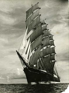 The last grain race - In the early 20th century sailing ships would compete to be the first to bring a grain cargo from Australia to the UK. Built in 1911 S.V. Passat was the winner of the final race in 1949/50, reaching Penarth, Wales in four months. Its cargo of wheat was destined for the mills of Methodist mill owner and film magnate J. Arthur Rank. Date: c.1950