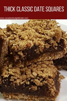Extra-Thick Classic Date Squares - Canadian Budget Binder - - Date squares are chewy and filled with a date mixture that pairs perfectly with the oatmeal base and crispy oat topping. This is the best date squares recipe ever! Date Recipes, Sweet Recipes, Date Slice, Cookie Recipes, Dessert Recipes, Dessert Bars, Baking Recipes, Frugal Recipes, Brownies