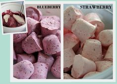 Blueberry/Strawberry Cheesecake Pop Bites - You can use ANY fruit though. Fruit, Cream Cheese, Sugar, and Whip Cream - mix and freeze. They're about 10 calories a pop :)