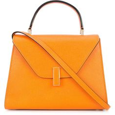Valextra foldover tote (37.191.010 IDR) ❤ liked on Polyvore featuring bags, handbags, tote bags, tote purses, orange tote, handbags totes, foldable tote bag and foldover tote
