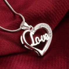 cool Women Fashion 925 Sterling Silver Heart Pendant Necklace Chain Jewelry Love Gift - For Sale