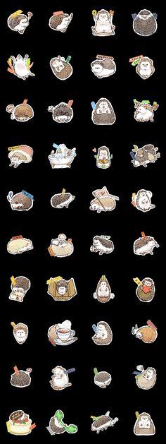 Hedge hog stickers / emoticons