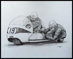 Terry Vinnicombe & John Flaxman, 1965 Isle of Man TT on BSA, 14x17, graphite pencil, may 15, 2017