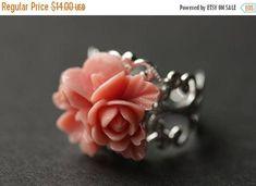 VALENTINE SALE Antique Pink Flower Ring. Flower Cluster Ring. Antique Pink Ring. Salmon Pink Ring. Adjustable Ring. Silver Ring. Handmade Je by StumblingOnSainthood from Stumbling On Sainthood. Find it now at http://ift.tt/2kJrVmI!