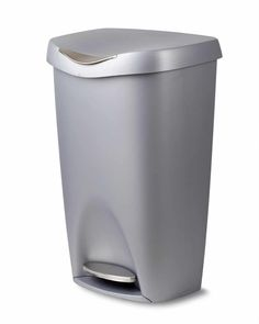 Designed by David Quan for Umbra, Brim looks as good as it performs. Umbra Brim 13 Gallon Trash Can with Lid - Large Kitchen Garbage Can with Stainless Steel Foot Pedal, Stylish and Durable, Silver/Nickel. Trash Containers, Trash Bins, Farrow Ball, Tapas, Kitchen Trash Cans, Shabby, Garbage Can, Thing 1, Plastic Waste