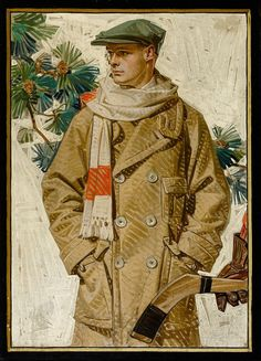 """""""Ready for Hockey"""" A Clothing Advertisement by JOSEPH CHRISTIAN LEYENDECKER (American, House of Kuppenheimer ad illustration, 1920 Oil on canvas 26 x 19 in. Not signed This illustration appeared as a full page ad in the Saturday Evening Post, January Norman Rockwell, American Illustration, Illustration Art, Christmas Illustration, Vintage Men, Jc Leyendecker, American Idol, Art Reference, Illustrators"""