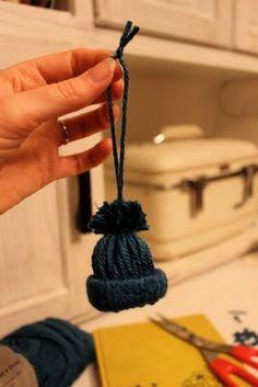 Easy yarn hat ornaments