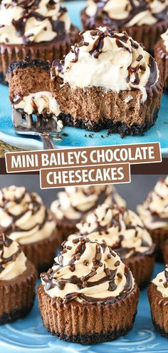 These Mini Baileys Chocolate Cheesecakes are easy to make and perfect for sharing! Made with Irish cream liqueur, they're also a great treat for St. Patrick's Day! Easy Mini Cheesecake Recipe, Cheesecake Bites, Mini Cheesecake Cupcakes, Triple Chocolate Cheesecake, Baileys Cheesecake, Raspberry Cheesecake, Pumpkin Cheesecake, Baileys Recipes, Irish Recipes