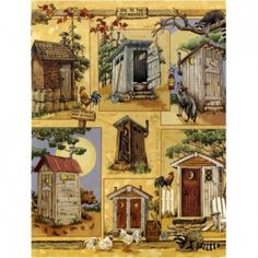 Blonder Home ODE TO THE OUTHOUSE Anita Phillips Fabric SHOWER CURTAIN NEW