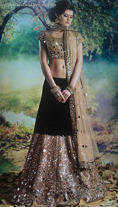 Shop online for mirror work embroidered lehenga choli. Free stitching and shipping.