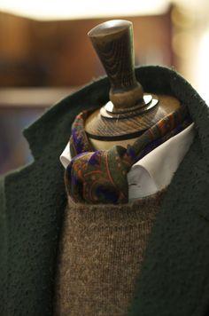 Casentino Coat, Brushed Shetland Sweater, Wool/Silk Bandana and OCBD Shirt.  Available at No.3 Clifford Street.