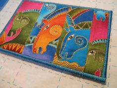 Quilted  Postcard - Laurel Burch Postcard - Handmade  Postcard - Fabric  Postcard - Patchwork  Postcard - Artist Postcard - Horses Post Card