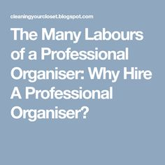The Many Labours of a Professional Organiser: Why Hire A Professional Organiser?