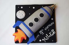 Rocket Cakes – Birthday Cakes for Boys: Nice Rocket Ship Cake ~ Cake Inspiration Rocket Ship Cakes, Rocket Cake, Rocket Ships, 2 Birthday Cake, Boy Birthday, Birthday Ideas, Rocket Birthday Parties, Astronaut Party, Cake Templates
