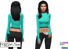 Mock Neck Athletic Top and Coordinating Pant at NyGirl Sims via Sims 4 Updates