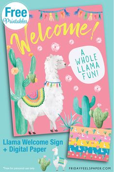 Cute & colorful llama party ideas you'll love including a llama piñata, party printables, invitations, cake, clipart & more to inspire your llama party. Party Kit, Party Packs, Llama Birthday, Birthday Board, 10th Birthday, Birthday Ideas, Diy Party Games, Party Ideas, Party Printables